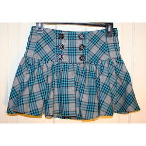 Candies teal blue plaid mini schoolgirl skirt punk